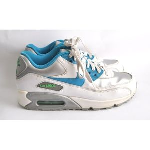 Nike Air Max 90 White Silver Electric Blue size 6Y